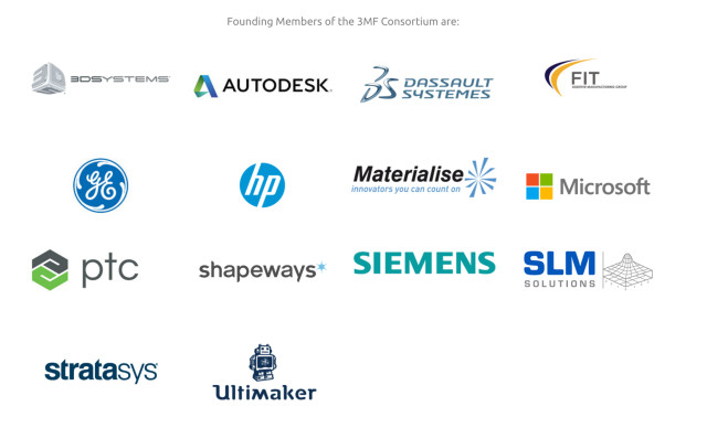 Founding members of the 3MF Consortium. (Image courtesy of the 3MF Consortium.)