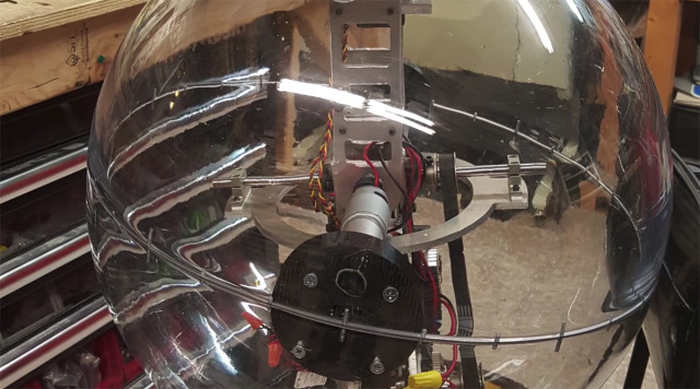 The mechanics of BB-8, housed within a polycarbonate sphere.