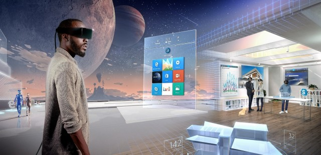 Digital mock-up of Windows Holographic OS. Skype and Microsoft Edge are lurking in the corners. (Image courtesy of Microsoft.)