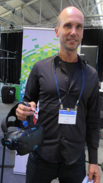 You will not puke—I promise. Merten Stroetzel of Autodesk with an HTC VR headset.