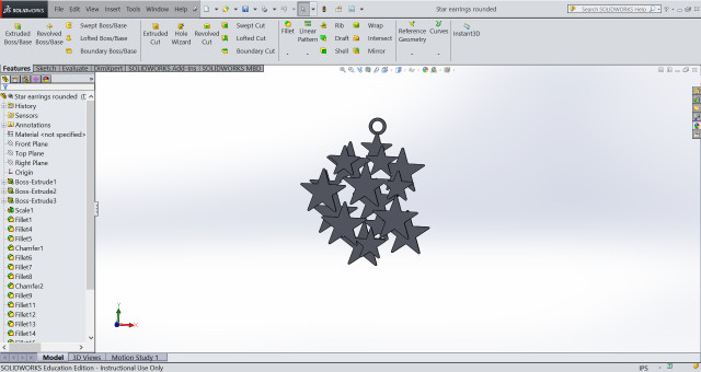 "Figure 3.The ""Starfield"" design under development. Winick's first exposure to solid modeling was in her first year of mechanical engineering studies at the University of Florida. She has gone on to use various CAD packages in her career but chooses SOLIDWORKS for running her own business. (Image courtesy of Sci Chic.)"