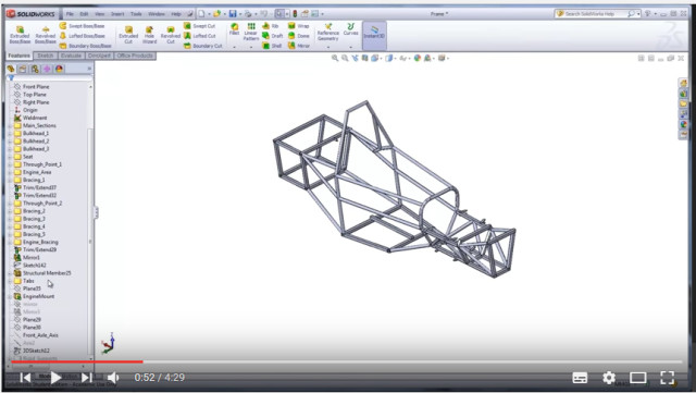 Figure 3. SOLIDWORKS offers a number of online tutorials to help new team members in Formula SAE and Baja SAE get up to speed with frame design and analysis. (Image courtesy of Tennessee Tech.)