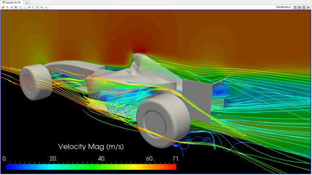 SimScale offers free stress and fluid flow analysis. Here, velocity contours around an F1 racecar. (Image courtesy of SimScale.)