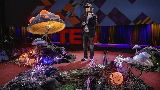 The Microsoft HoloLens allows users to interact with high-definition holograms projected onto a real space. (Image courtesy of Microsoft.)
