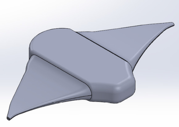 Figure 4. Franzini's model of the final design of the manta ray robot. It was designed to glide long distances underwater using very low energy consumption. (Image courtesy of Gabrielle Franzini.)