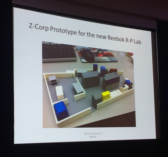 3D-printed layout of Reebok RP Lab. (Photo courtesy of the author.)