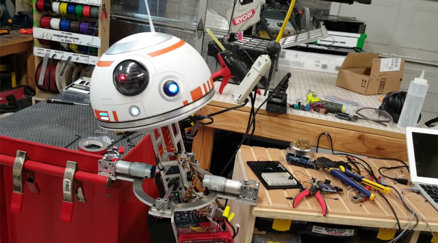 Zarick's BB-8 replica moves with a single axel and counterweight.