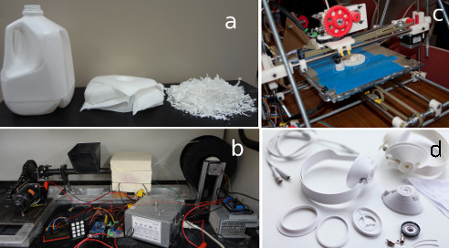 The recycling process for converting plastic milk jugs into 3D-printable filament. (Image courtesy of Michigan Tech's Open Sustainability Technology lab.)