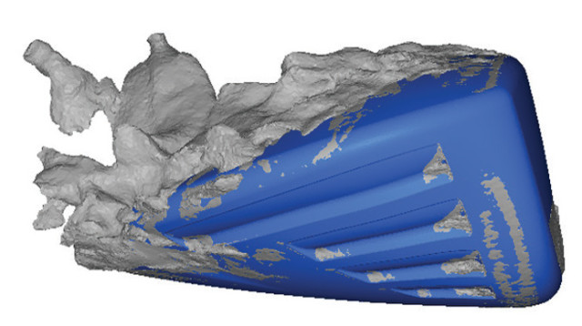 Flow separation occurs as air rushes over a golf club head, a bluff object.(Image courtesy of ANSYS.)