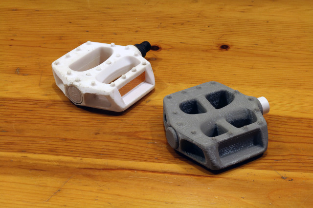 A bicycle pedal (right) that was created in ReMake and Fusion 360. (Image courtesy of Alex Lobos, professor of industrial design at the Rochester Institute of Technology.)