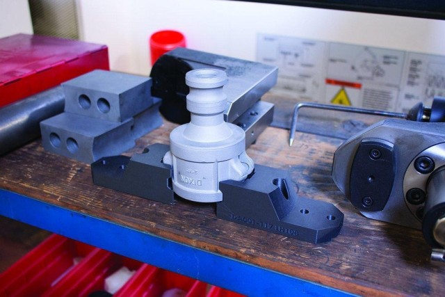 A two-jaw gripper set for a pipe fitting 3D printed with Onyx on the Mark Two. (Image courtesy of Markforged.)