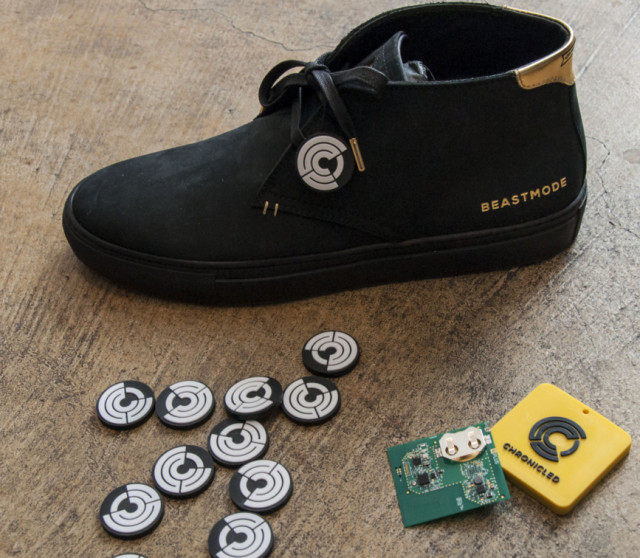 The end result—the round RFID chips authenticate the Marshawn Lynch-inspired shoes. (Image courtesy of Autodesk.)