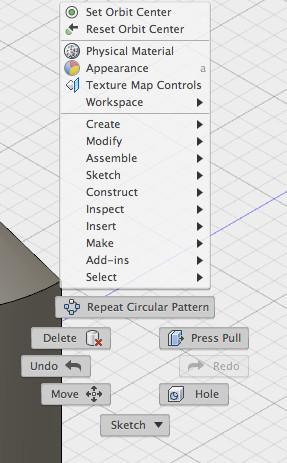 The right-click shortcut menu in Fusion 360.