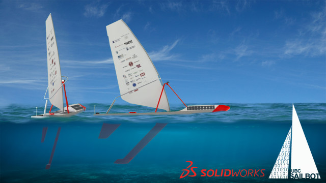 Figure 6. An early 3D render of the boat made in SOLIDWORKS by Mechanical Team Co-Lead Alex von Schulmann. (Image courtesy of the UBC Sailbot team.)