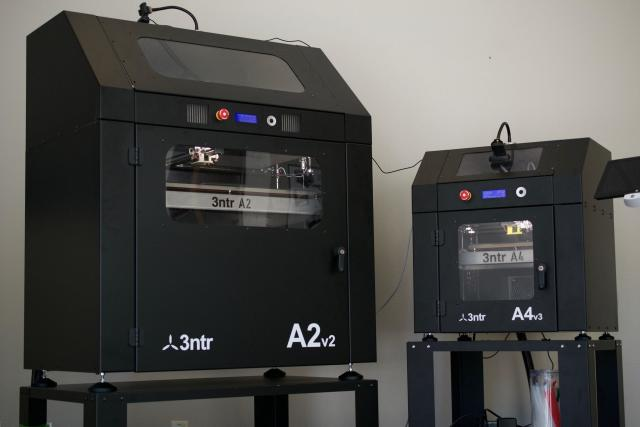 The A2 and A4 3D printers from 3ntr at Plural AM headquarters.