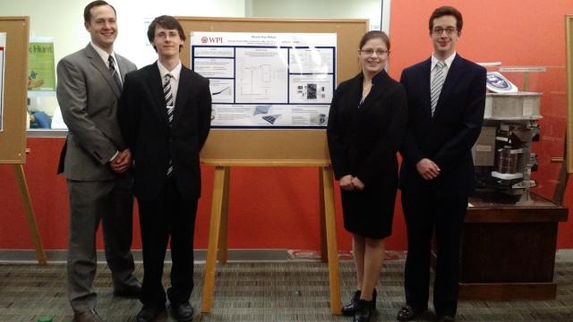 Figure 8. The award-winning WPI Soft Robotics team. Left to right: Nathan Schmidt, Joshua Fuller, Gabrielle Franzini and John Price. (Image courtesy of Gabrielle Franzini.)