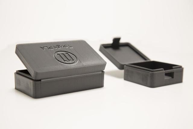A box with a living hinge 3D printed with Tough PLA. (Image courtesy of MakerBot.)