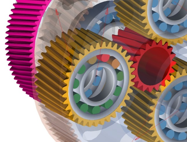 Users can model complex interactions between multiple gears. (Image courtesy of MSC Software.)