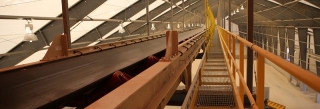 Overhead conveyor inside a fabric structure. (Image courtesy of Legacy Building Solutions.)
