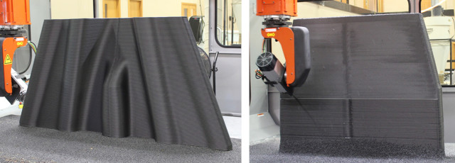 The LSAM 3D prints an object to near net shape before a CNC router trims the part to net shape. (Image courtesy of Thermwood.)