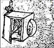 In 1492, da Vinci supposedly started to put his understanding of perspective into experimentations involving central projections with his possible invention of the magic lantern, though no physical evidence exists that he ever built a working model of this device. (Image courtesy of Iosart.com.)