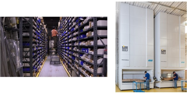 Two types of storage: a warehouse shelves system and Modula's Vertical Lift Modules.(Images courtesy of Modula.)