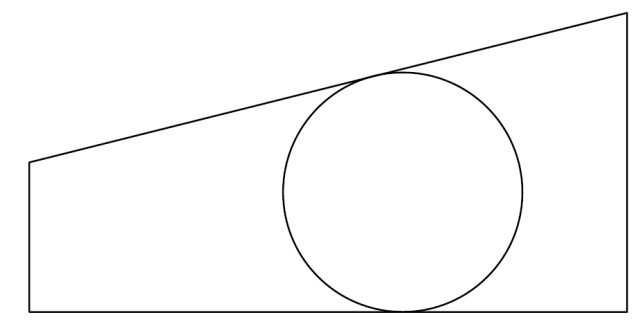Circle tangent to opposite non-parallel side of a polygon. (All images courtesy of the author.)
