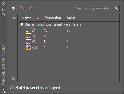 Parameters manager displaying all currently defined dimensional constraints.
