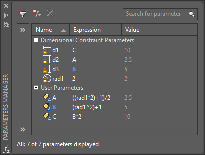 User-defined dimensional parameters using formulas.