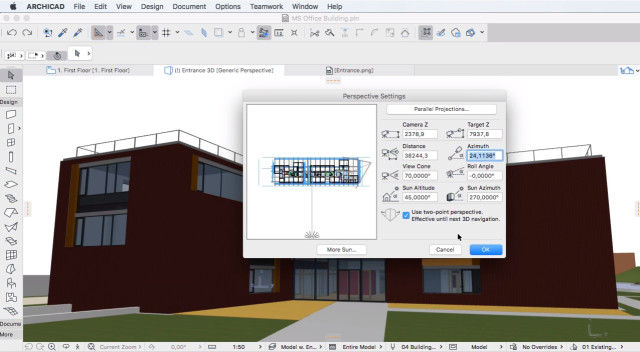 A look at the perspectives options in ARCHICAD 20. (Image courtesy of GRAPHISOFT.)