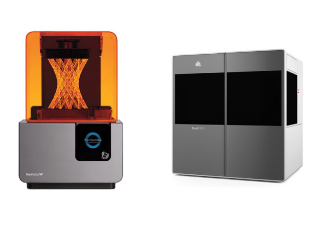 The build volume of SLA printers can vary. Left: Formlabs' Form 2 (145 × 145 × 175 mm). Right: 3D Systems' ProX 950 (1,500 x 750 x 550 mm).