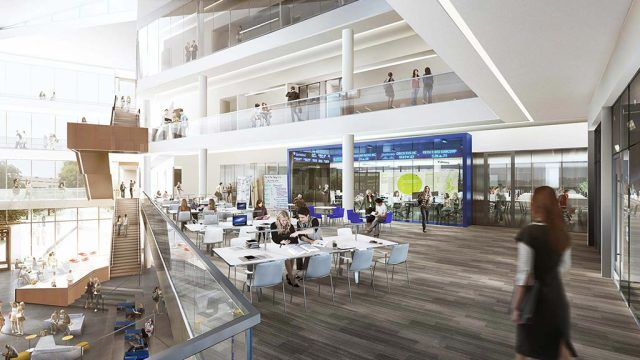 A view of the hall's central area. (Image courtesy of Gensler.)