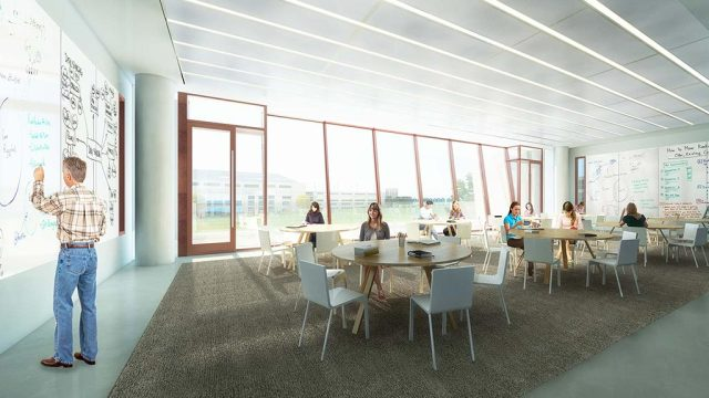Learning areas more closely resemble boardrooms and lounges than typical classrooms. (Image courtesy of Gensler.)
