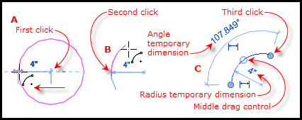 Figure 11. Creating an arc with the Center-Ends Arc tool.