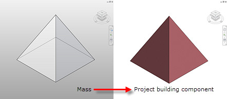 Figure 4. A pyramid mass turned into a project building component assigned with a brick wall.