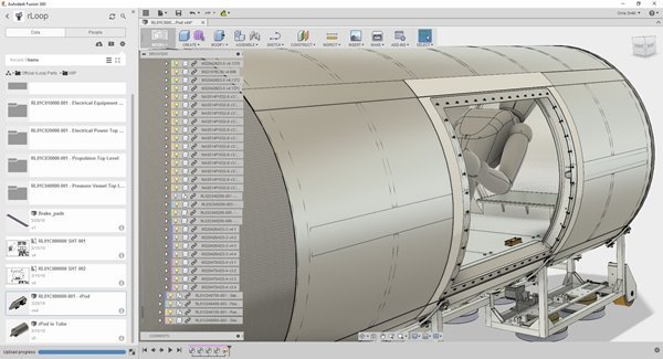 rLoop took advantage of Fusion 360's innovative and collaborative platform to take turns designing and sharing with each other around the world. (Image courtesy of Autodesk.)