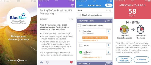 Screenshots from the WellDoc Bluestar app. Patients can get real-time feedback on their glucose, medications and other parameters, track their nutrition, receive medication alerts and reminders, and share important health data and a SmartVisit summary directly with their doctor and healthcare team. (Image courtesy of WellDoc Bluestar.)