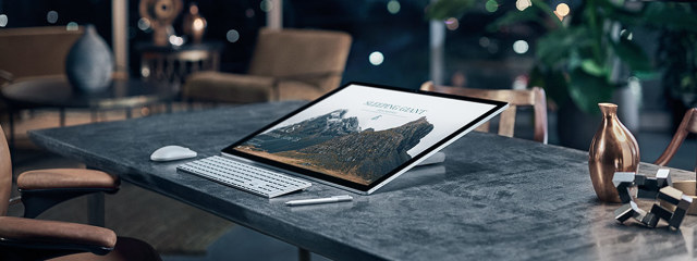 The new Surface Studio from Microsoft looks slender and weighs about 13 lbs. There's also a Surface dial, a pen, keyboard and mouse to augment the many fingers that will touch, swipe and poke at the giant 28-in PixelSense display touchscreen. (Image courtesy of Microsoft.)