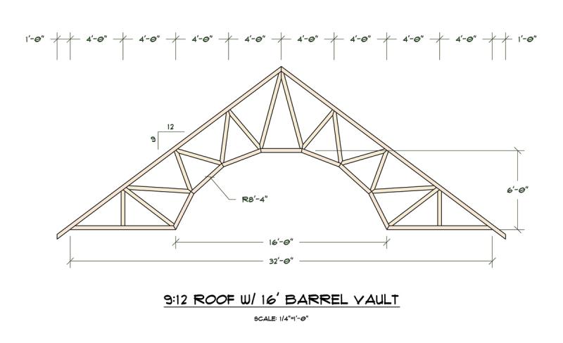 Barrel vault trusses truss engineering design for Barrel roof trusses