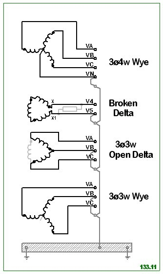 Elecy3 21 likewise Star Delta Transformer Connection in addition Understanding Vector Group Transformer 1 besides 219 Electrical One Line Diagram Symbols as well Delta Wye Transformer Phasor Diagram. on grounded wye delta connection diagram