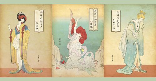 迪士尼公主們化身日本古代美人,最後一個夠哂經典!