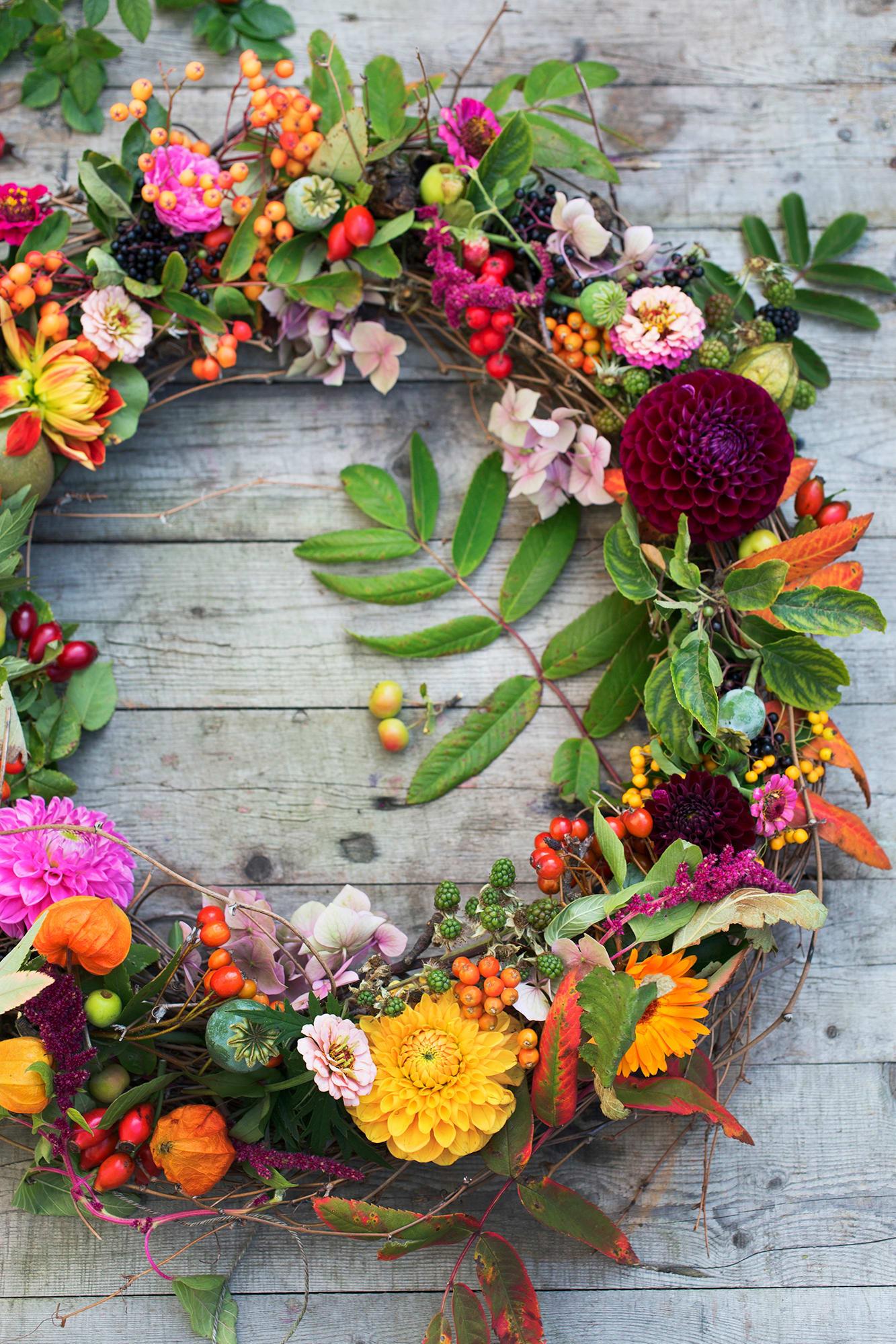 Samla höstens härliga frukter, blommor och bär och gör en krans. Använd en ring med stickmassa istället för att binda kransen så håller den flera dagar. Vi har använt dahlior, vallmokapslar, japanska lyktor, nypon, rönnbär, zinnia, björnbär, ringblommor och rönnbärsblad, hortensia och rävsvans.