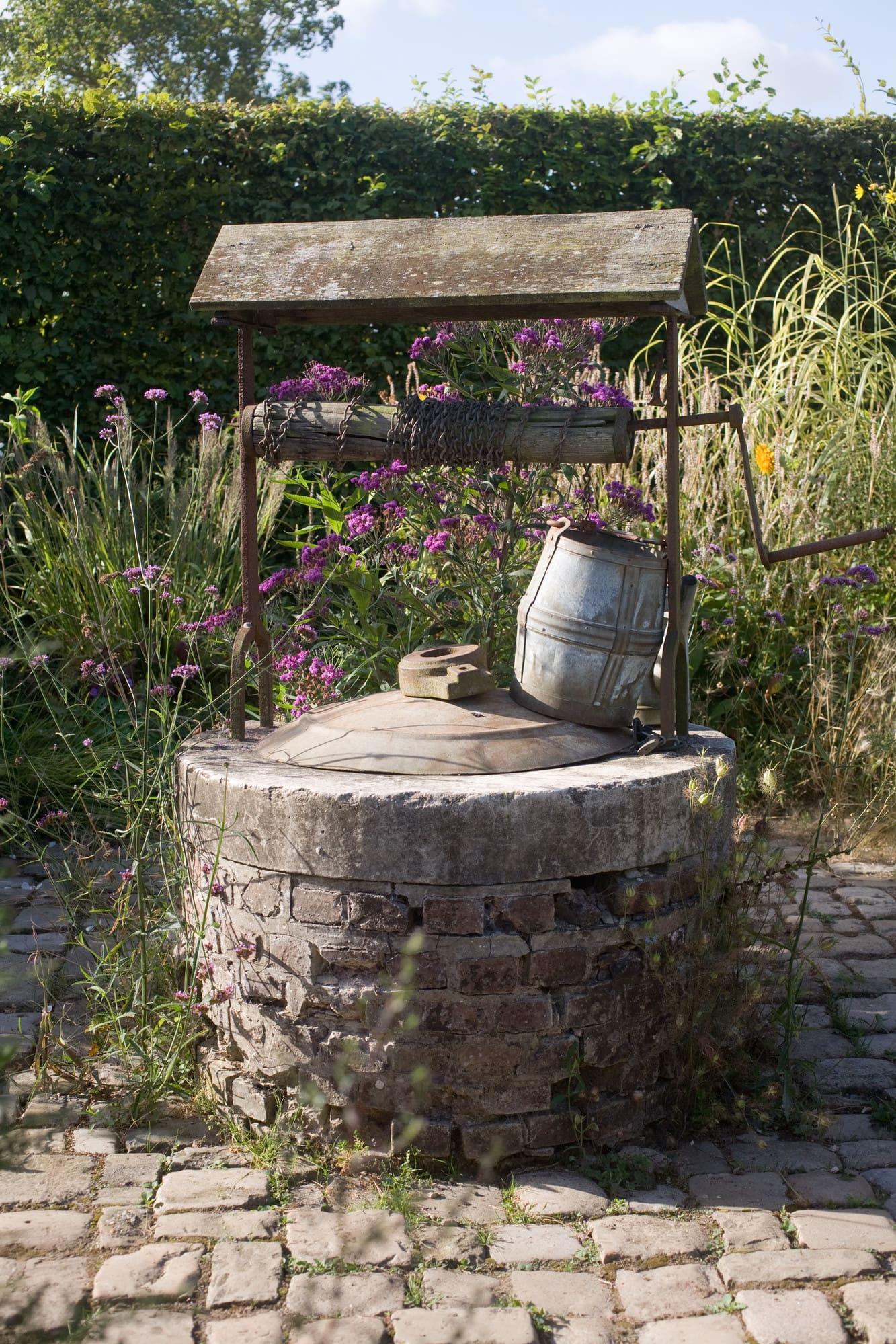 Gammal brunn omgiven av höga sirliga perenner i höstträdgården.