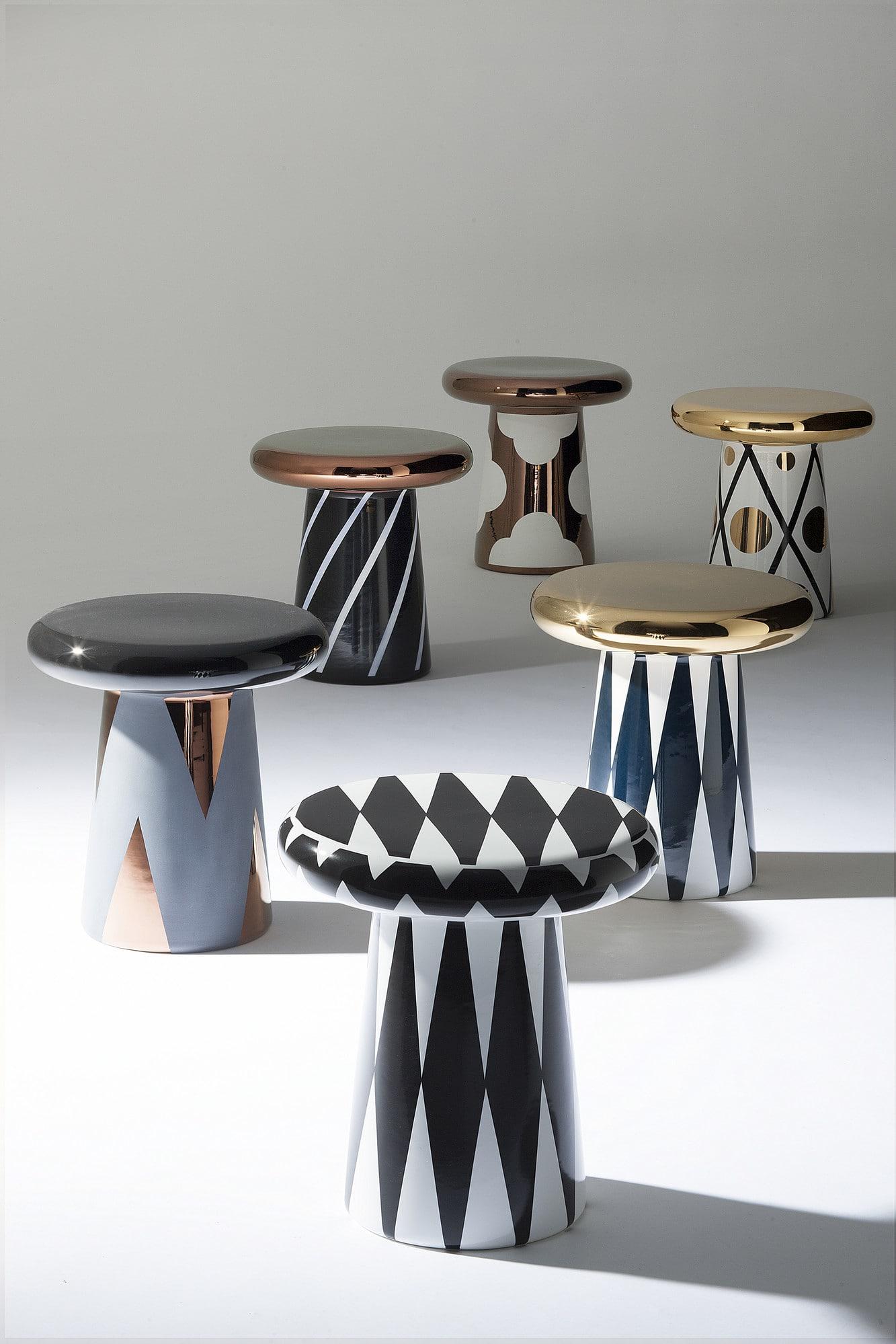 Hayon har arbetat med keramik från början av karriären. Det svampformade bordet för Bosa har försetts med lack i metall- färger. Bosa, ca 7 500 kr