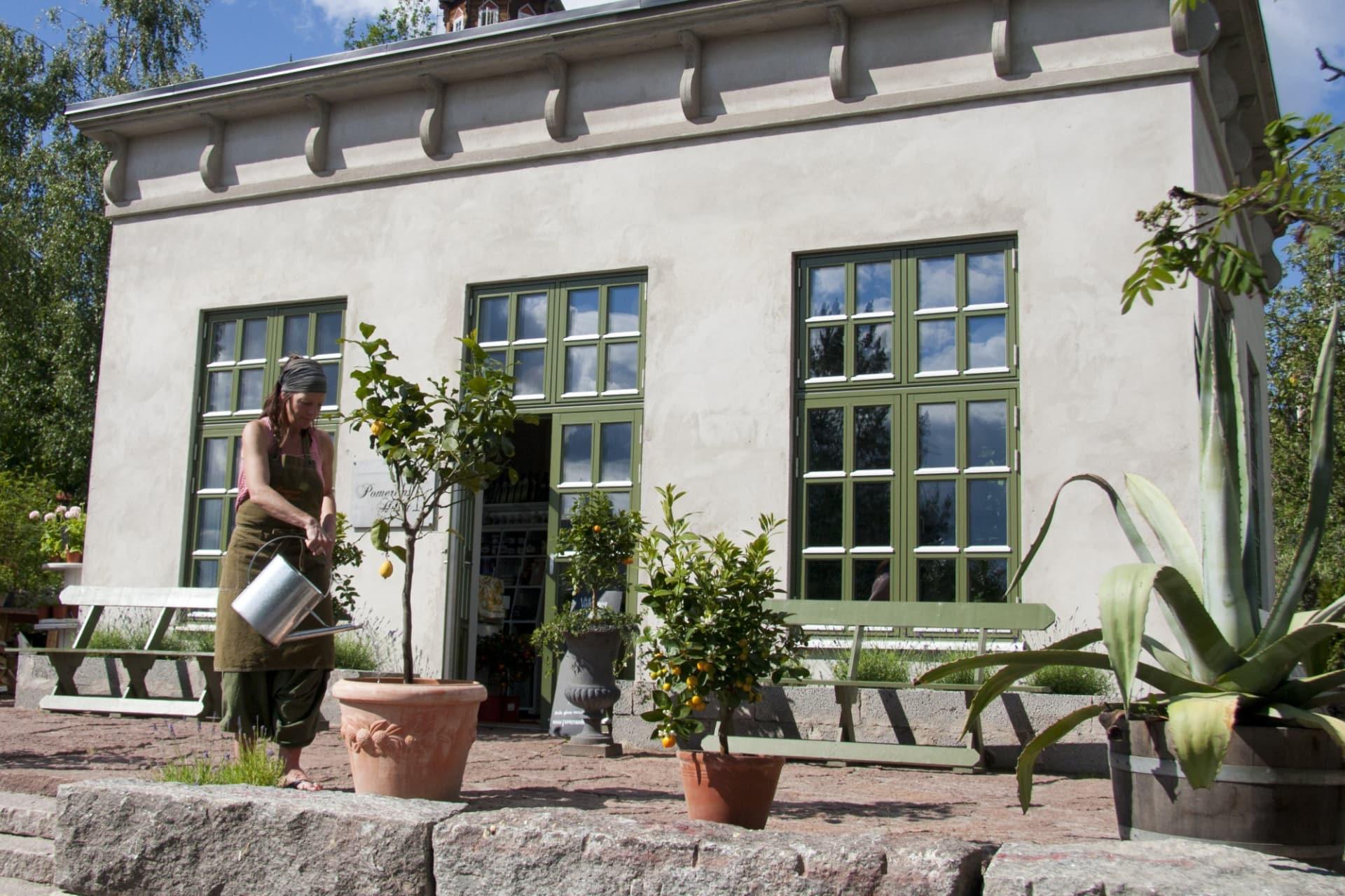 Pomeranshuset är omsorgsfullt designat för att ge intrycket av ett orangeri från renässansen med sina höga fönster, putsade väggar och krönta tak.