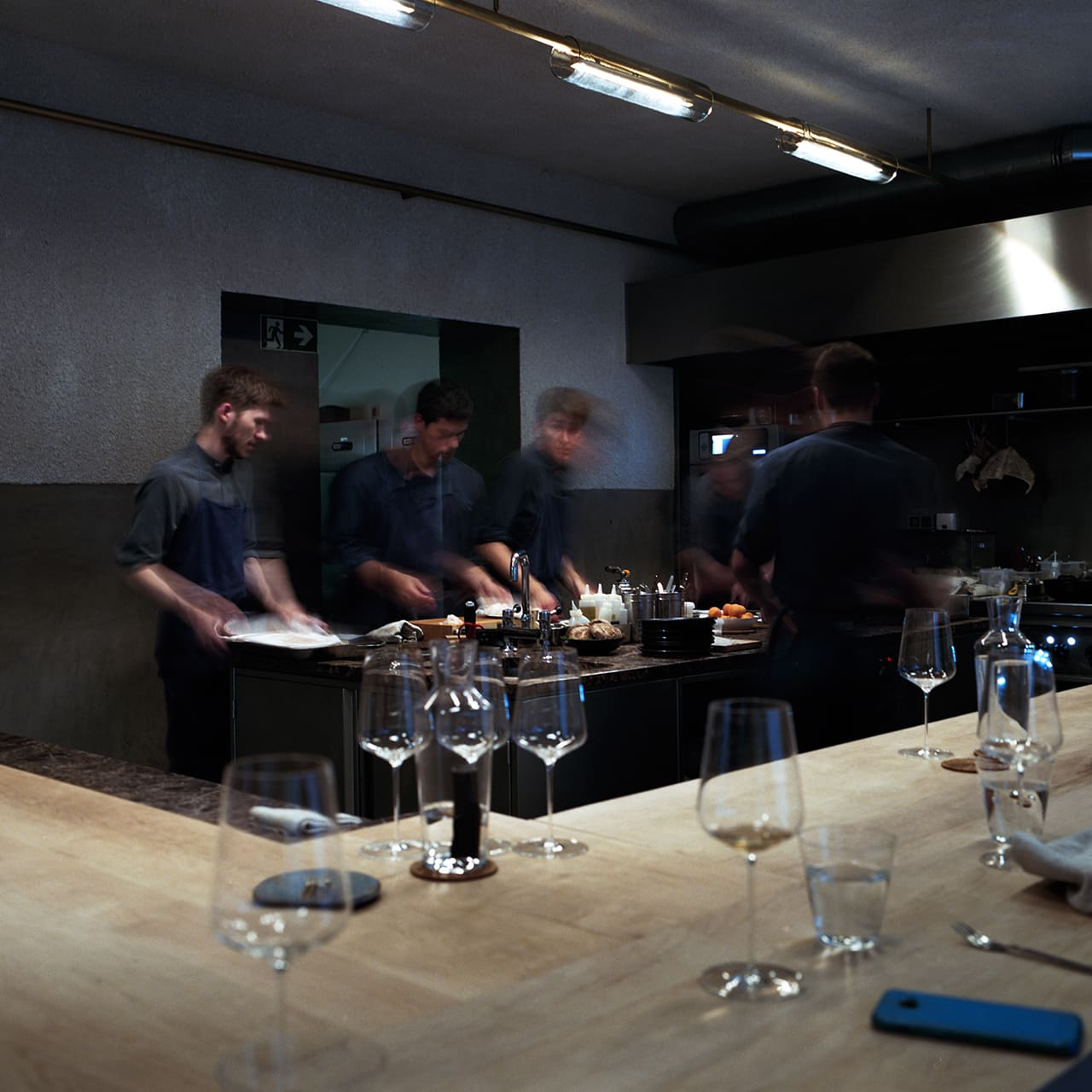 The restaurant is an open bar kitchen. Photo credit: Maidje Meergans