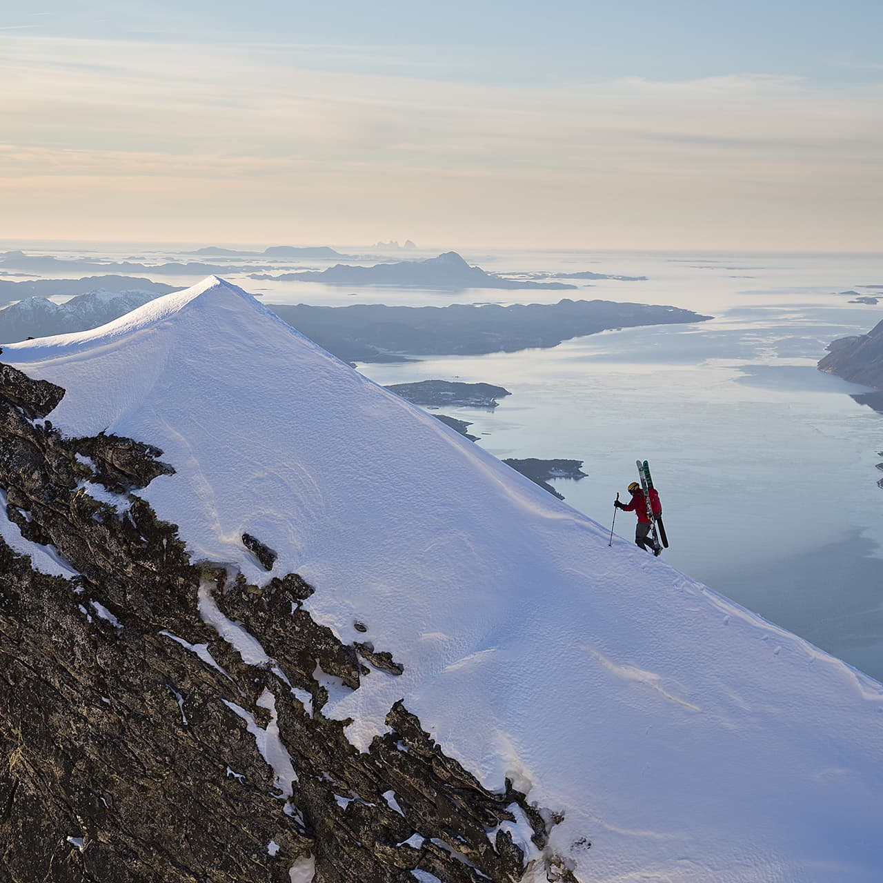 A peak in a Norwegian landscape; Johan Engebratt takes the final steps.