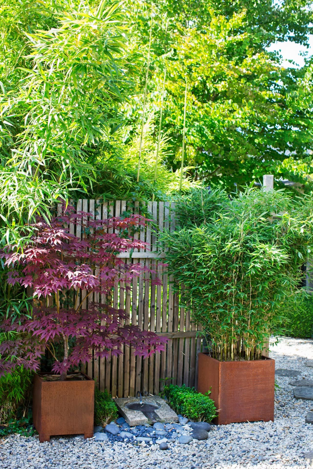 """With a trellis fence you can quickly screen off spaces and create """"rooms"""" in your garden.Anders often moves around his pots, and when the plants are at their best, they get the spotlight."""