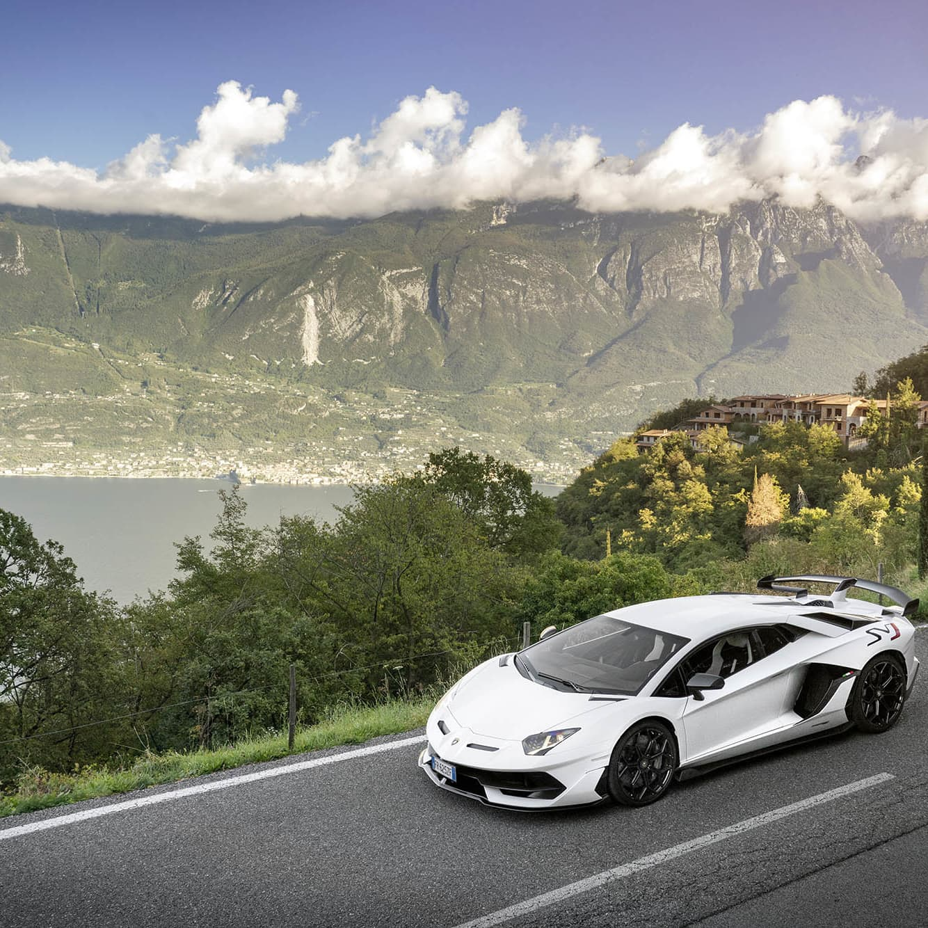 Lamborghini Aventador SVJ, without question the toughest bull from Sant'Agata Bolognese! In the background Garda Lake.