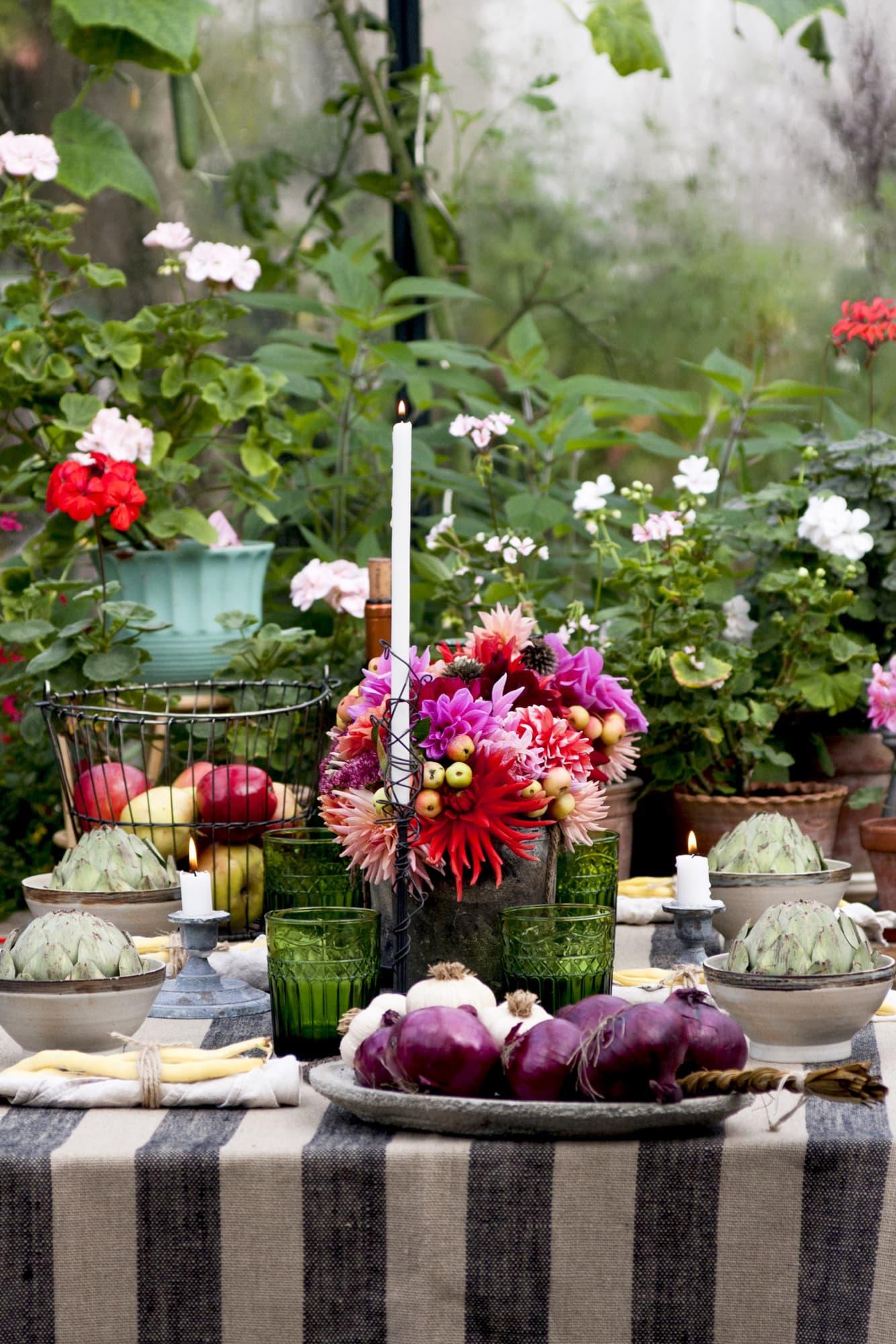 Plocka vad trädgården har att erbjuda i form av frukt, grönsaker och blommor. Bjud sedan in dina vänner och håll skördefest i växthuset med levande ljus och allt det goda.